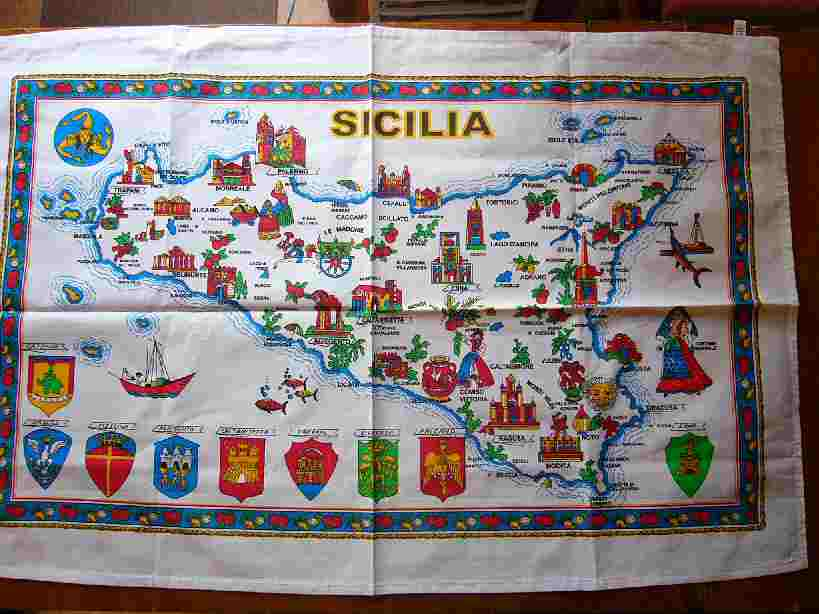 イタリアの布製地図